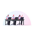 characters sitting at office desk with laptops vector image vector image