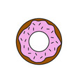 chocolate strawberry donut food thin line icon vector image