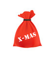 christmas gift in a bag new year vector image vector image