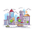 city street with tall houses and cars vector image vector image