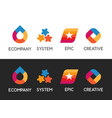 colorful set of logos on white and black vector image