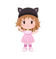 cute little baby girl in dress hat with vector image vector image