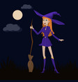 cute witch with red hair in a purple dress and a vector image