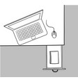 desk drawer and laptop doodle vector image vector image