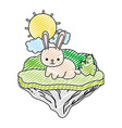 doodle happy rabbit animal in the float island vector image vector image