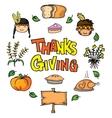 Doodle of tthanksgiving pumpkin chicken cake vector image