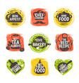 food doodle logo restaurant kitchen badge cafe vector image