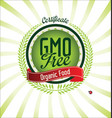 gmo free certificate green badge vector image vector image
