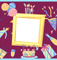 happy birthday greeting card with frame vector image