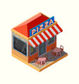 isometric a pizza place vector image