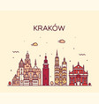 krakow skyline poland trendy linear city vector image