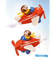 little pilot with a toy airplane 3d icon vector image vector image