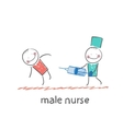 male nurse make an injection syringe ill patient vector image