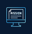 pc with mission document creative outline vector image
