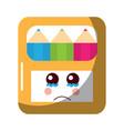 pencils in box kawaii character vector image