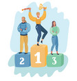 people stand on first second and third place vector image