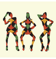 retro girls with patterns vector image