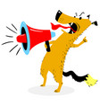 screaming dog the dog barks into the loudspeaker vector image vector image