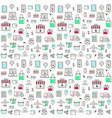 seamless pattern with online shopping icons vector image vector image