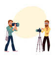 set of cartoon photographers at work vector image vector image