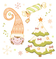 Set of Christmas dwarf in the bell Christmas tree vector image