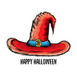 sketch red halloween witch hat isolated on vector image