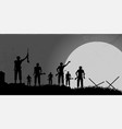 soldiers silhouette background with moon vector image