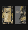 tropical leaves black and gold botany banners vector image