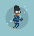 young african-american scuba diver giving thumb up vector image vector image