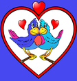 two parrots are kissed in heart vector image