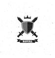 crossing swords shield and crown label vector image