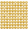 100 online shopping icons set gold vector image vector image