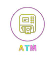 atm round linear button template for online app vector image