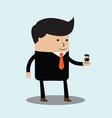 big businessman has little businessmen in palm vector image vector image