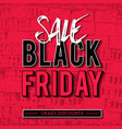 black friday sale banner on red brick wall vector image vector image