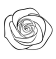 black silhouette outline rose isolated on white vector image vector image