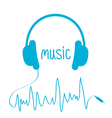 Blue headphones with cord in shape of cardiogram vector image vector image