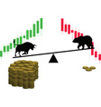 bull and bear on the scale vector image