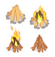 cartoon character wooden logs and campfire vector image vector image