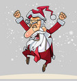 cartoon happy santa claus with glasses happily vector image vector image