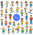 cartoon kid boys characters big set vector image vector image