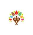 colorful tree family logo vector image vector image