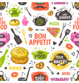 doodle food pattern menu seamless background vector image vector image