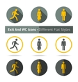 Exit and WC icons set In different flat styles vector image