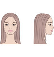 female face with long hair front and side vector image
