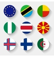flags world round buttons vector image