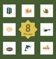 flat icon nature set of fish scallop periscope vector image vector image