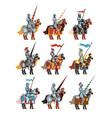 flat set of medieval knights on horseback vector image vector image