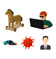 hacker hacking system internet hackers and vector image