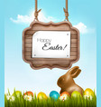 happy easter background with chocolate rabbit vector image